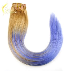 2016 hot selling factory wholesale price no tangle no shedding balayage hair extension clip in hair