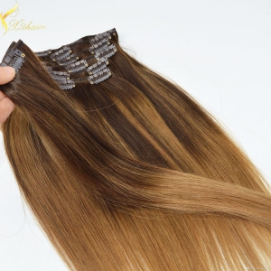 2016 top quality remy clip in hair extensions 150g remy clip in hair extension