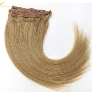 2017 Cheap unproessed straight no tangle & shedding clip in hair extensions human remy