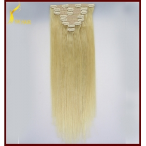7 piece double weft 100% brazilian human hair full head straight clip in remy hair extensions 160g