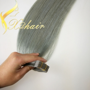 Best sales gray human hair tape weft pu skin weft hair peruvian