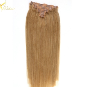 Best selling double weft double drawn clip in remy hair extensions 190g