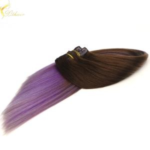 Best selling double weft double drawn ombre clip in hair extensions full head