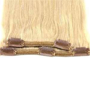 Best selling double weft double drawn remy clip in hair extension 220 grams
