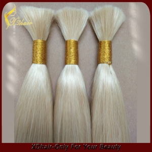Blond hair in bulk wholesale price virgin remy full cuticle Brazilian hair extension Double drawn