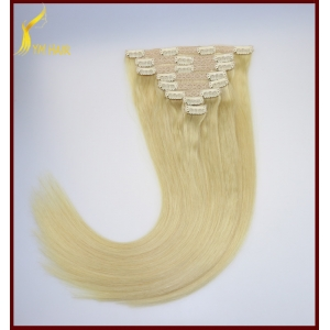 Cheap price double weft full head straight clip in remy human hair extension