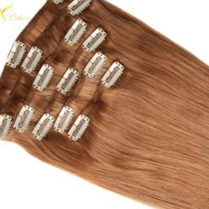 Cheap unproessed straight no tangle & shedding double weft remy clip in hair extension 220 grams
