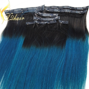 Double Drawn 220g Remy Cheap 100% Human Hair Clip In Hair Extension