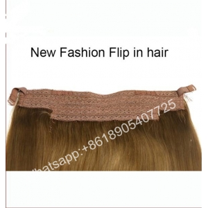Hair factory customized high quality 100% human hair wholesale flip in halo hair