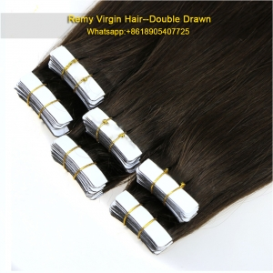 High quality india hair 100% virgin brazilian silky straight remy human tape hair extension