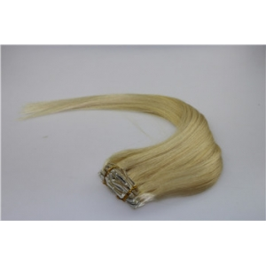 High quality unprocessed brazilian hair double weft blond clip on remy hair extensions with lace