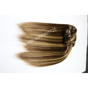 Hot sale high quality piano color Clip In Hair Extension human hair Grade Brazilian Hair