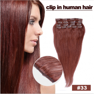 Hot sell clip in human hair 100% brazilian virgin hair extension