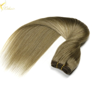 Hot selling trade assurance double weft shedding free brazilian human hair sew in weave