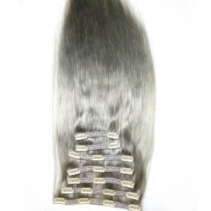 Human hair lace clip in virgin remy gray hair