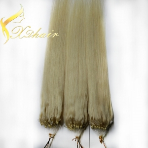 Micro loop ring human hair extension top quality blond hair 1g piece