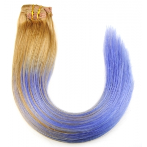Ombre clip in human hair extension blond hair top quality hair clip