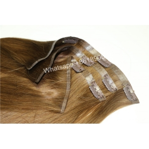 Silky straight double drawn clip in hair extensions 100% human hair