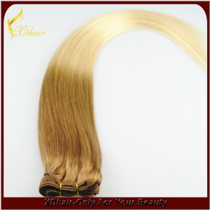 Straight Ombre Remy Human Hair Weft Weave Extensions 100g Natural Black To Grey