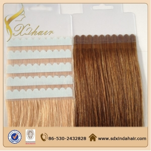 Straight brazilian remy hair tape in hair extentions cheap human hair extension for wholesale