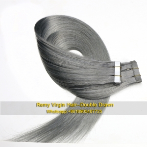 Tape hair extensions gray color high quality