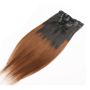 Top quality 6A unprocessed clip in hair extensions ombre color virgin hair extensions straight type