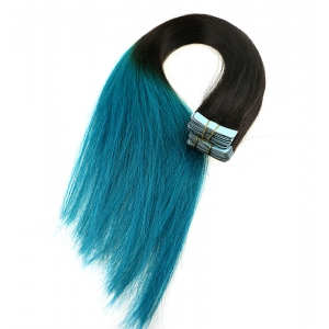 Two tone color human hair pu skin weft tape weft ombre brazilian hair