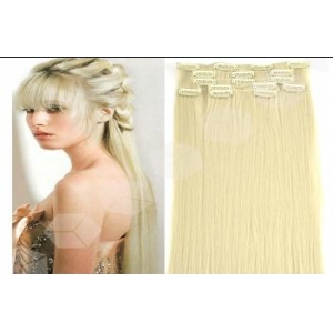 Wholesale Brazilian hair unprocessed virgin hair blonde double drawn clip in hair extensions for white women