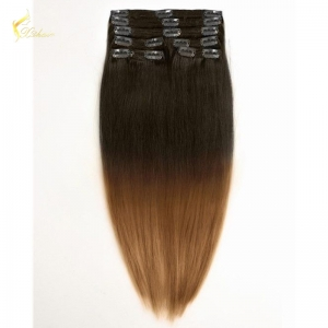 Wholesale alibaba new products fashion sell well full head ombre two tone color clip on human hair extension for black women