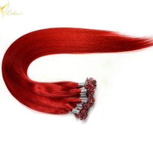Wholesale price remy italian keratin double drawn flat tip hair