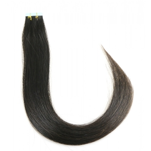 aliexpress 1# black color indian temple hair skin weft 100% virgin brazilian indian remy human hair PU tape hair extension