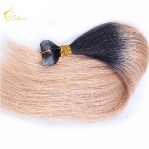 cheap peruvian human hair two tone #1bT#blonde ombre tape hair extension