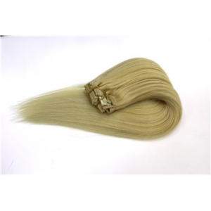 high quality double drawn thick remy full head lace weft clip in human hair extension
