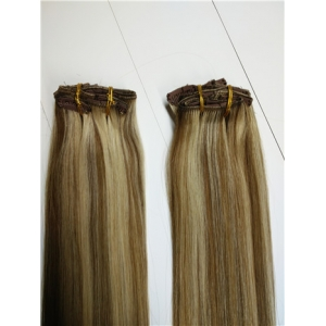 unprocessed brazilian hair double weft blond clip on remy hair extensions with lace