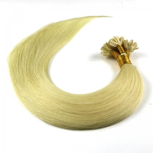 wholesale price blond color human flat tip hair extensions