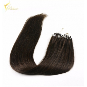 La fábrica de China Best quality no chemical top quality wavy style micro ring 2 loops remy hair