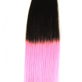 La fábrica de China Cheap price human hair bulk peruvian hair extension ombre pink/black hair