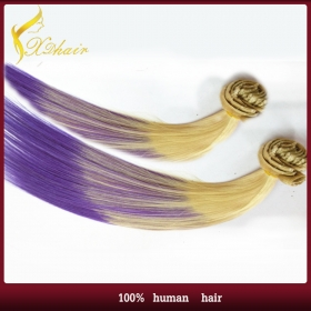 China Dip dye  clip in hairpiece  two tone color top quality remy human hair extension factory