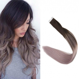 China Double Drawn Virgin Brazilian hair ombre color skin weft tape hair extension and clip in hair extension factory