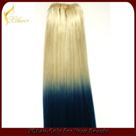 China Double drawn 100% human hair straight  wave ombre wave  mix color hair extension factory