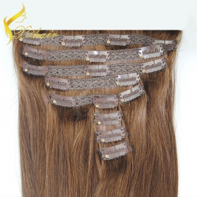 Кита Factory Direct 120g,160g,220g,260g Double Drawn Thick Ends Triple Weft With Lace Attached Clip in Hair Extension завод