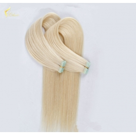 China Indian virgin hair silky straight double drawn human hair extensions color 60# blonde double drawn invisible tape hair extension factory