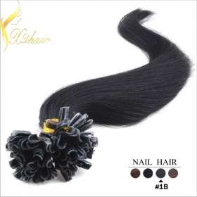 China Remy fusion keratin nail tip hair U tip virgin hair wholesale, 5a full cuticle remy Prebonded U tip virgin hair sobre as vendas