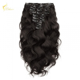 China Top Quality China Factory Supply Black Color Remy Double Drawn Clip in hair extension 220 grams on sales