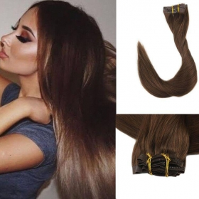 China double drawn clip in human hair extension top quality clip hair extension factory