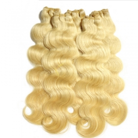 China hair products #613 bleached Blonde 100 Brazilian Remy Human Hair body wave weaves wavy extensions machine weft-Fabrik