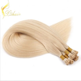 Chine hot selling good quality brazilian vigin wholesale unprocessed i tip hair extension Golden yellow long straight hair usine