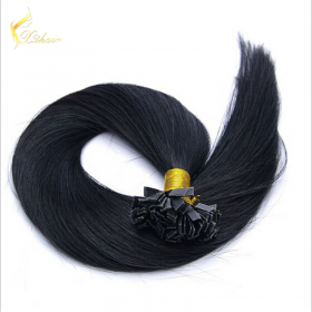 Chine natural black human hair extensions ,virgin brazilian hair flat tip hair for women usine