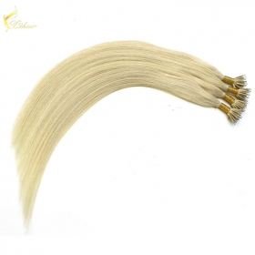 China wholesale price blonde color double drawn remy hair top quality 100% European nano ring hair factory