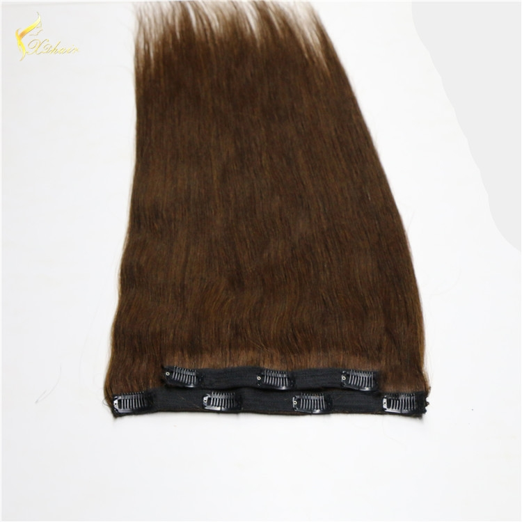 160g double drawn clip in human hair extension top quality clip hair extension qingdao factory